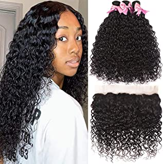 Brazilian Water Wave Human Hair 3 Bundles With Frontal 13X4 Ear To Ear Free Part Lace Frontal Closure 9A 100 Unprocessed W...