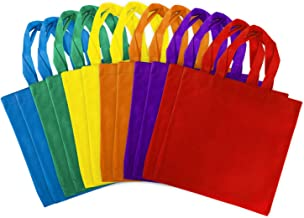 Assorted Colorful Solid Blank Tote Party Gift Bags Rainbow Colors with Handles for Birthday Favors, Snacks, Decoration, Arts & Crafts, Event Supplies (12 Bags) by Super Z Outlet (12