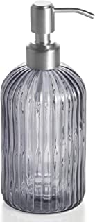 Easy-Tang 18 Oz Grey Glass Soap Dispenser - Refillable Wash Hand Liquid, Dish Detergent, Shampoo Lotion Bottle with Brushed Nickel Pump Holder, Ideal for Bathroom Countertop, Kitchen, Laundry Room