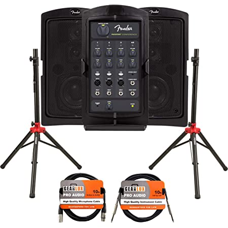 Fender Passport Conference Portable PA System Bundle with Compact Speaker Stands, XLR Cable, and Instrument Cable
