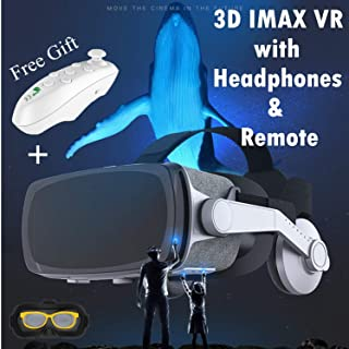 VR Headset, VR Goggle Fit for iPhone X R 8 7 6 Plus Samsung Galaxy S9 S8 S7 S6 Edge iOS Android PC Cell Phone, 3D Viewing Virtual Reality Glasses w/Headphone & Remote(Gift) for 3D Movie & Game, Gray