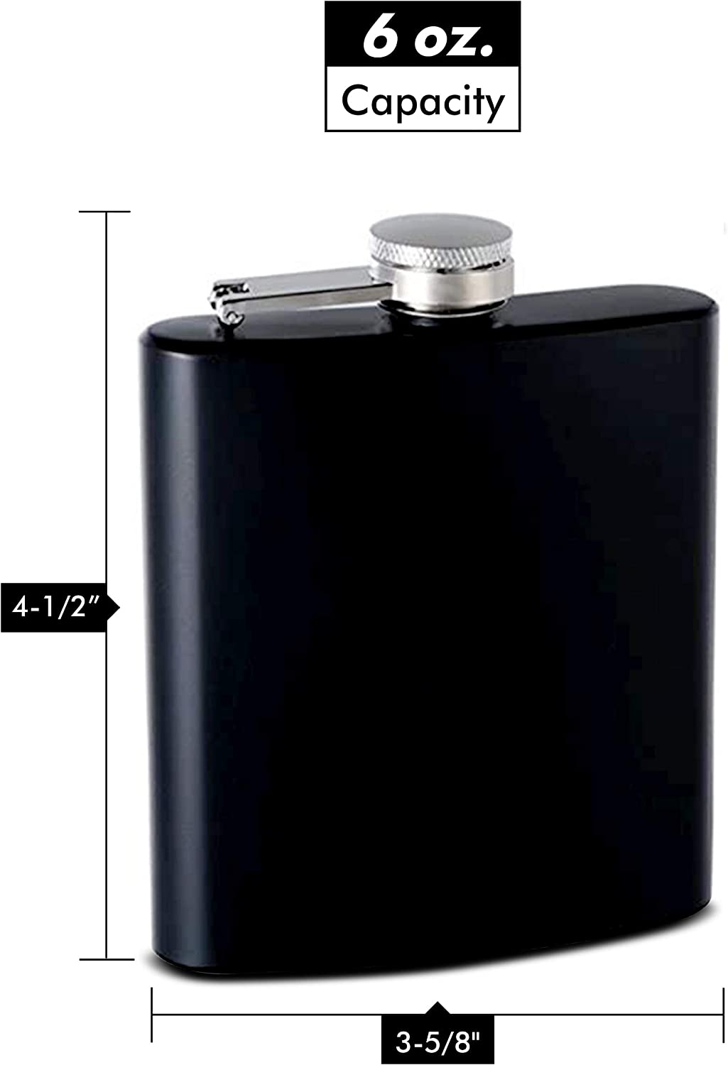 6oz Rubber Coated Stainless Steel Hip Flask Assorted Colors Black By Top Shelf Flasks Amazon Ca Home Kitchen