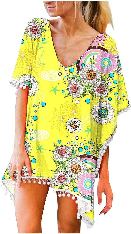 Gerichy Womens Summer Casual Dresses, Womens Swimsuits Beach Blouse Trim Tassels Pullover Swimwear Bikini Cover Ups Yellow