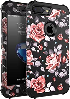 OBBCase 7plus case Rose iPhone 7 Plus Case, Three Layer Hybrid Sturdy Armor High Impact Resistant Protective Cover, 5