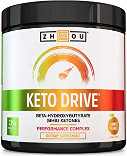 Zhou Nutrition Keto Drive Exogenous Ketone Performance Complex - BHB Salts - Formulated for Ketosis, Energy and Focus - Pa...