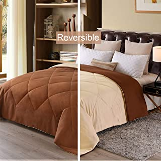 Exclusivo Mezcla Lightweight Reversible Down Alternative Quilted Comforter Duvet for All Seasons, Queen Size (88'' x 88''), Chocolate Brown