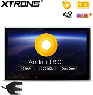 XTRONS 10.1 Inch Android 8.0 Octa Core 4G RAM 32G ROM HD Digital Multi-Touch Screen Car Stereo GPS Radio DVD Player Adjustable Viewing Angles OBD2 TPMS WiFi with Reversing Camera