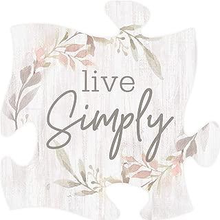 P. Graham Dunn Live Simply Floral Whitewashed 12 x 12 Wood Decorative Puzzle Piece Plaque