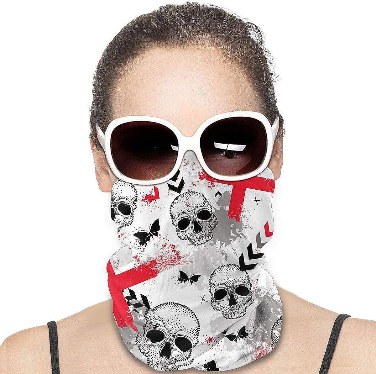 KiuLoam Women Bandanas Face Mask, Dotted Skull Neck Gaiter Mask Headband for Men Face Scarf Dust, Outdoors, Sports