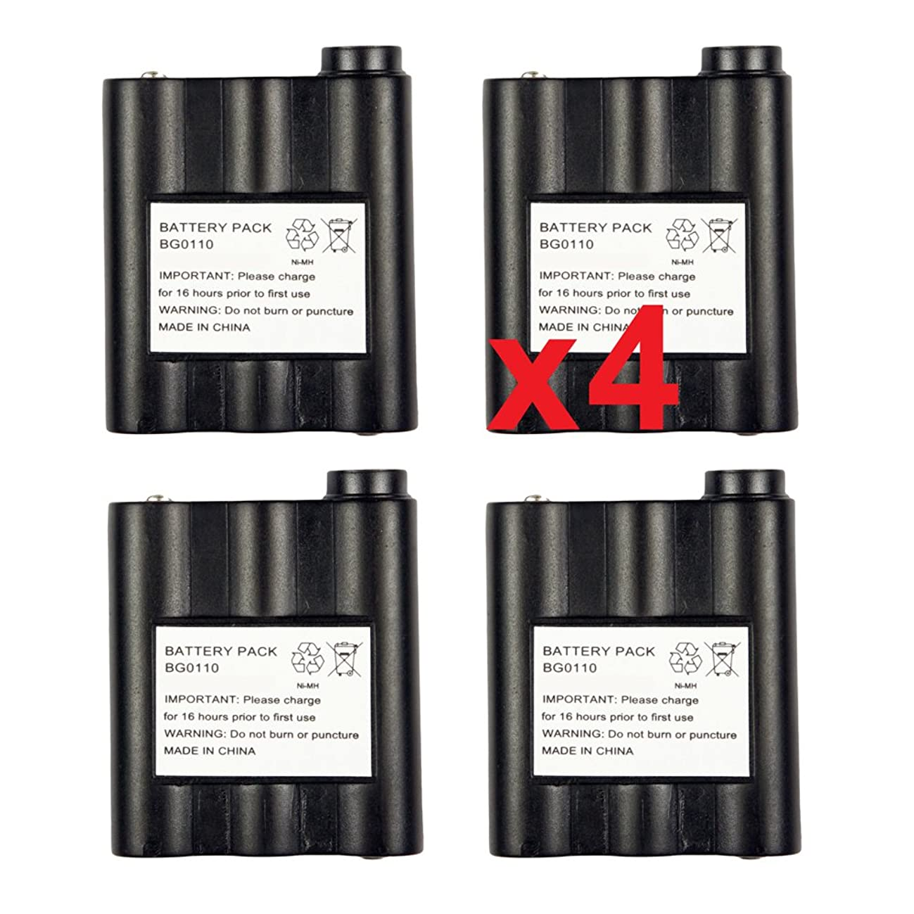 4 Pack Fenzer Replacement Two-Way Radio GMRS / FRS Rechargeable Battery for Midland GXT-700 GXT-710 GXT-720 GXT-750 GXT-756 GXT-757 GXT-775 GXT-795 GXT-800 GXT-850 GXT-900 GXT-950