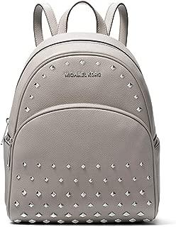 Abbey Medium Studded Pebble Leather Blackpack - Pearl Grey