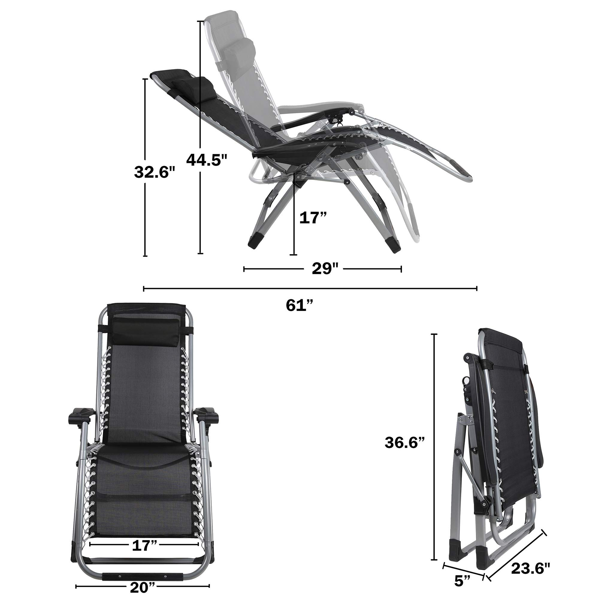 Adjustable Reclining Lawn Lounge Chairs for Patio 330 Lbs Capacity Beach and Pool LUCKYERMORE Folding Zero Gravity Chair 2 Pack- Heavy Duty Steel Frame and Breathable Fabric