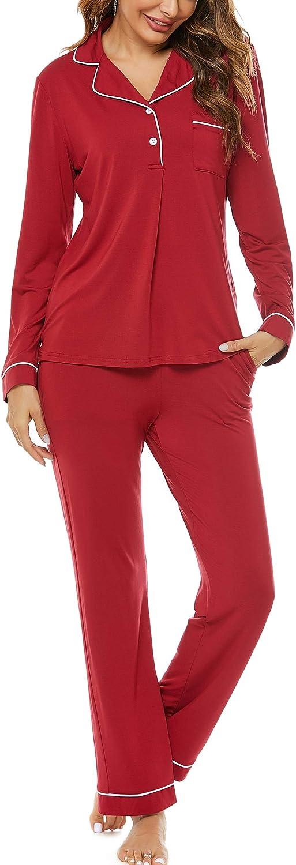 Haiiploo Women's Excellence Pajamas Set Long Sleepwear Sleeve N Down Super Special SALE held Button