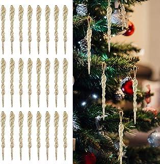 Outgeek Xmas Icicle Ornaments, 24PCS Decorations Tree Icicle for Holiday Hanging Icicle Ornaments Twisted Clear Plastic Ic...