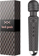 Personal Wand Massager bed geek with New Memory Feature Handheld Cordless Waterproof USB Rechargeable Massage 20 Vibration Patterns 8 Speeds Skin Soft Silicone (Black)