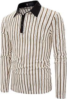 Men Stripe Polo Shirt Long Sleeve Slim Fit Casual Blouse