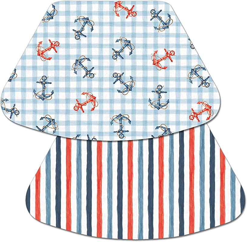 Counterart Set Of 4 Reversible Decofoam Wedge Placemat Anchors Stripes Nautical Life