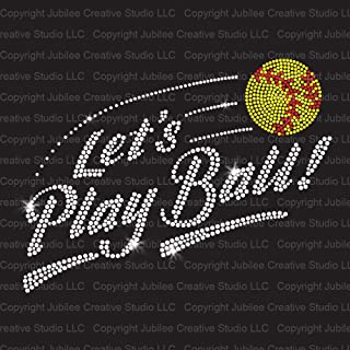 Let's Play Softball! Iron On Rhinestone Crystals and Rhinestuds T-Shirt Transfer by JCS Rhinestones