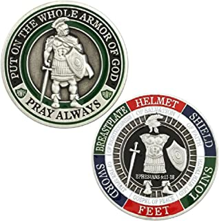 Armor of God Challenge Coin - Collectors Medallion - Jewelry Quality by Symbol Arts,Antique Silver,