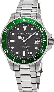 Stuhrling Original Men's 664.03 Aquadiver Quartz Date Stainless Steel Link Bracelet Grey Dial Diver Watch