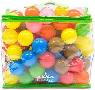 RiZKiZ カラーボール カラフル/クリア/パステル 6色 / 7色 100個入り 直径5.5cm 【やわらかポリエチレン製】 (こどもプール/ボールハウス/キッズプレイサークル用) … (直径5.5cm, カラフル)