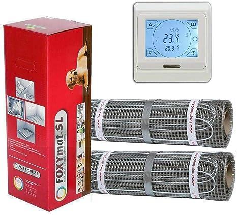 160 Watt pro m/² 0.5m x 6m FOXYSHOP24-elektrische Fu/ßbodenheizung PREMIUM MARKE FOXYMAT.SL mit Thermostat QM-BLUE,Komplett-Set 3.0 m/²