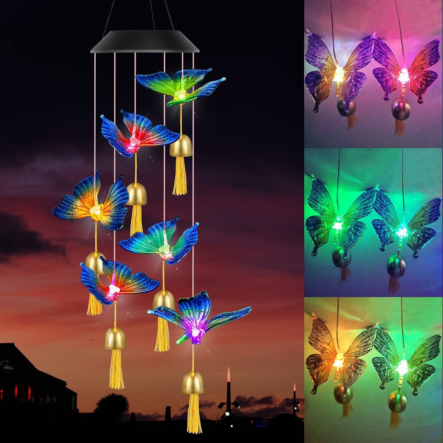 Homekey Solar Wind Chimes for Outside, Color Changing Butterfly Wind Chimes with Bells Outdoor, Waterproof LED Solar Lights for Garden, Patio, Party, Yard & Window, Gifts for mom Grandma