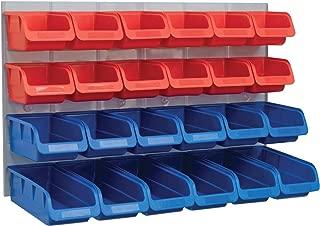 Faithfull 24 Plastic Storage Bins with Metal Wall Panel