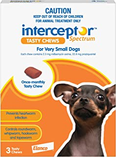 Interceptor® Spectrum Tasty Chews for X-Small Dogs up to 4kg (Brown) - 3 Pack