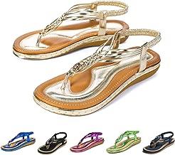 gracosy Summer Sandals for Women, Flat Sandals Flip Flops Thongs Clip Toe Slip On Elastic T-Strap Bohemia Beach Slippers