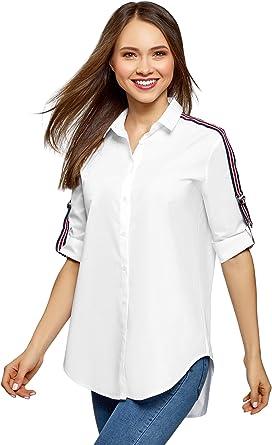 oodji Ultra Mujer Camisa de Algodón Oversize