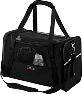 Aivituvin Pet Carrier for Dog and Cat,Soft Sided Collapsible Travel Bags for Small or Medium Animal,Black