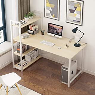 Computer Table Home Office Large Desk, 120 * 60 Gaming Table Study Writing Table Modern Simple Style Desk with Bookshelf
