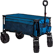Timber Ridge Folding Wagon Collapsible Utility Big Wheels Shopping Cart for Beach Outdoor..