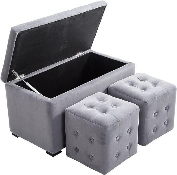 HomCom 3 Piece Tufted Microfiber Storage Bench Cube Ottoman Set Gray