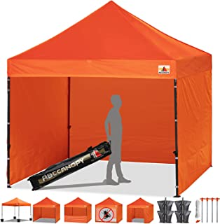 ABCCANOPY Canopy Tent Popup Canopy 10x10 Pop Up Canopies Commercial Tents Market stall with 6 Removable Sidewalls and Roller Bag Bonus 4 Weight Bags and 10ft Screen Netting and Half Wall, Aurantia