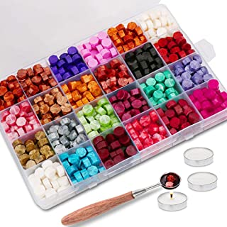 600PCS Sealing Wax Beads Packed in Plastic Box, with 3PCS Tea Candles and 1 PC Wax Melting Spoon for Wax Sealing Stamp (24...