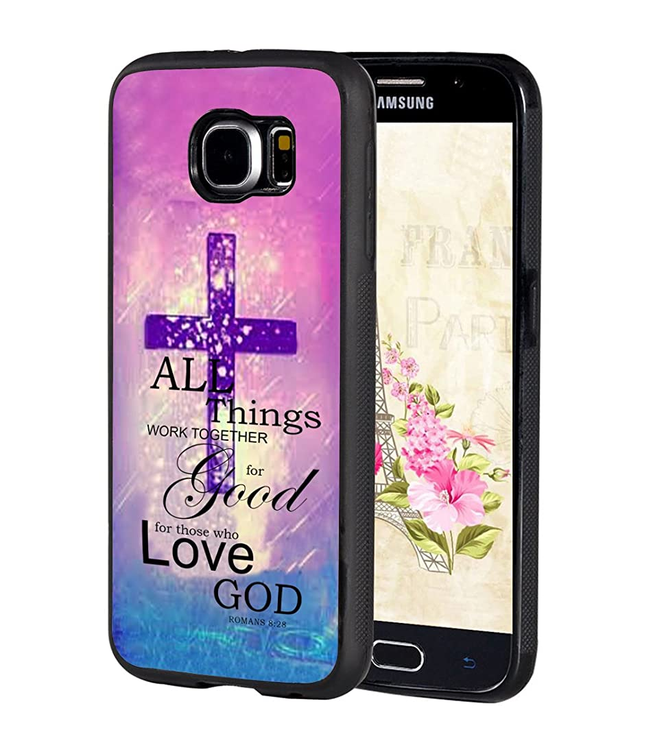 Galaxy S6 Case,BWOOLL Christian Quote Bible Verse Romans 8:28 All Things Work Together for Good,for Those Who Love God Cross Design Slim Anti-Scratch TPU Rubber Protective Cover for Samsung Galaxy S6