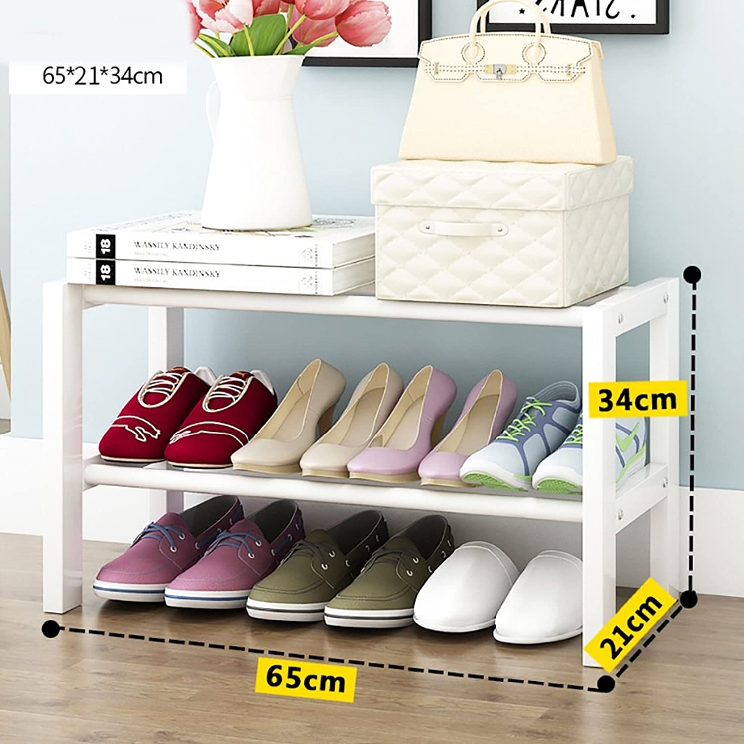 shoes Bench Organizing Rack Solid Wood shoes Rack Home Simple Small shoes Rack dust shoes Rack White shoes Storage Rack (Size   65cm)
