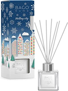 BAGO home Christmas Collection Oil Reed Diffuser Set - Holiday City, 90 ml 3 oz