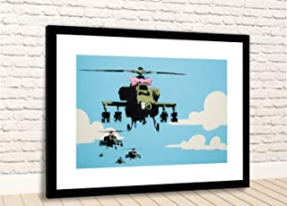 """Print Banksy Apache Helicopters Pink Bow Framed Photo (16"""" X 12"""" Black Fr/White Mt)"""
