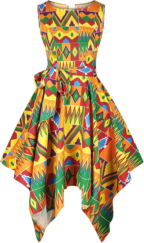 Novia's Choice Women's African Dashiki Print Dress Traditional High Waist Swing Party Cocktail Dress