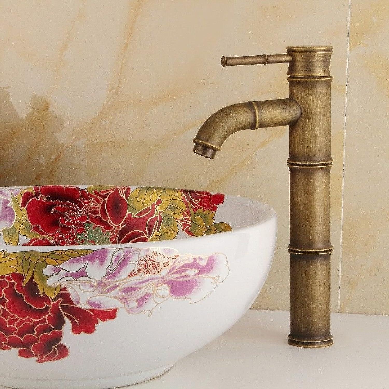 Athraoay Wasserhahn Bad Armatur Waschtischarmatur Messing antik Bamboo Einhebelsteuerung, Warmes und kaltes Wasser Waschbeckenarmatur Waschtischbatterie für Badezimmer
