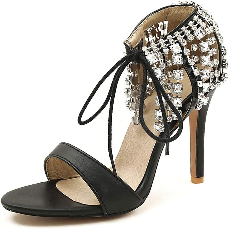 Alex Kuts Women High Heel Sandals Lace Up Rhinestones Open Toe Women Sandals Ornate shoes Dress Footwear,Pink,9.5