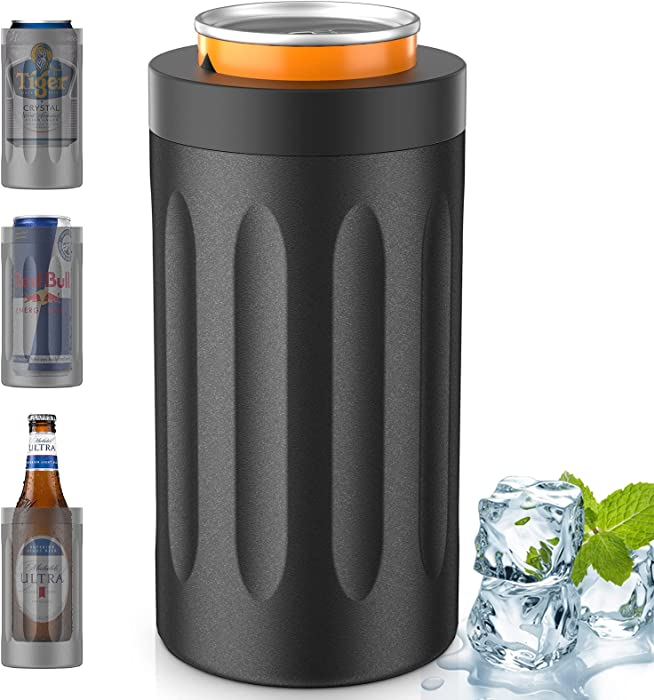 Can Cooler, 4-IN-1 Slim Can Cooler Insulated for 12oz Skinny Cans, Regular Cans, Beer Bottles & as Tumbler, Beer Can Cooler with Double-walled Vacuum Stainless Steel (Onyx Black)