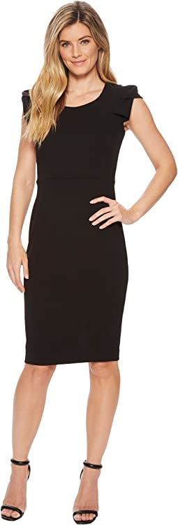Folded Puff Sleeve Scoop Neck Sheath CD8C12JL