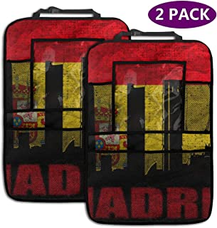 QF6FEICHAN Spanish Capital Madrid Car Backseat Organizer Seat Back Protectors Kids Kick Mat with Touch Screen Tablet Holder (2 Pack)