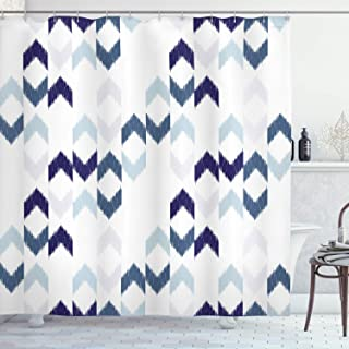 Ambesonne Navy Shower Curtain, Abstract Ikat Chevron with Hazy Zigzag Folk Traditional Image, Cloth Fabric Bathroom Decor Set with Hooks, 84
