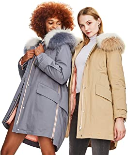 Women's 90% White Duck Down Jacket Real Raccoon Fur Collar Hooded Parka Winter Long Coat