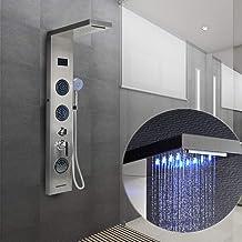 Douchepaneel, Douchesysteem, blauwe LED + LCD-display + meerdere modi (waterval, massage) + handdouche